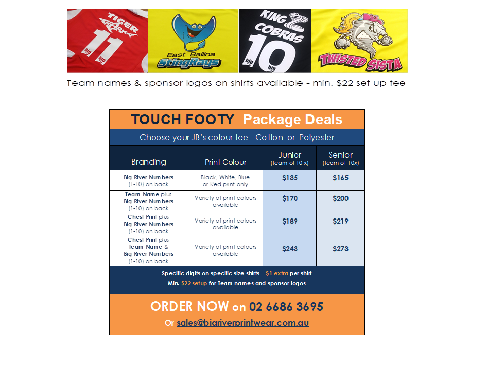 ballina touch footy shirts
